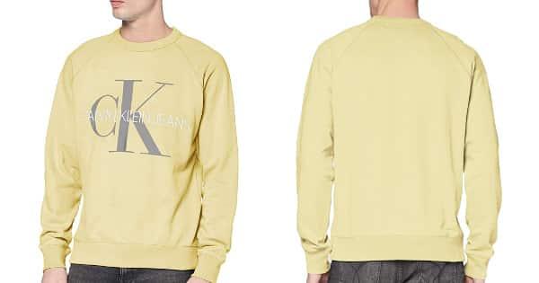 Sudadera Calvin Klein Vegetable amarilla barata, ropa de marca barata, ofertas en sudaderas