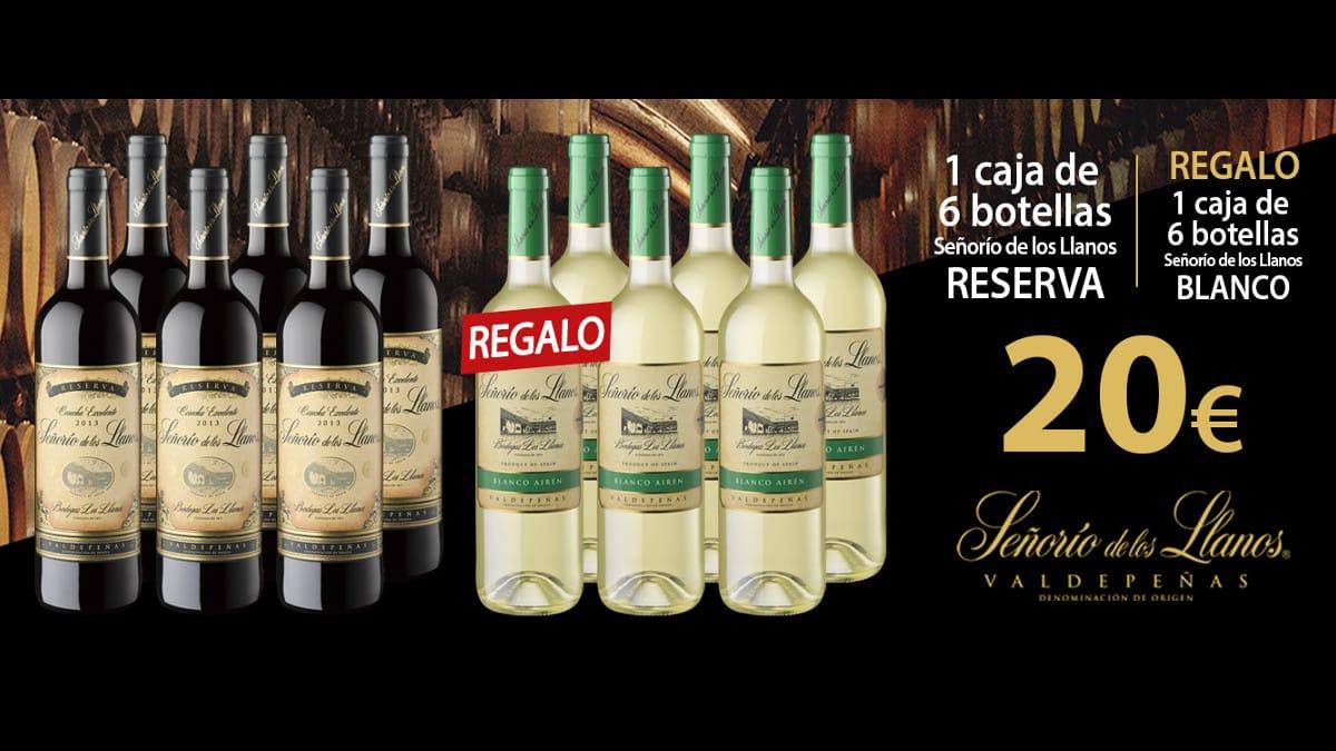 12 botellas Señorío de los Llanos D.O. Valdepeñas, 6 tinto Reserva + 6 blanco Airén barato, vino barato, chollo