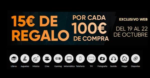 15 euros de regalo por cada 100 euros de compra, promoción Fnac, chollo