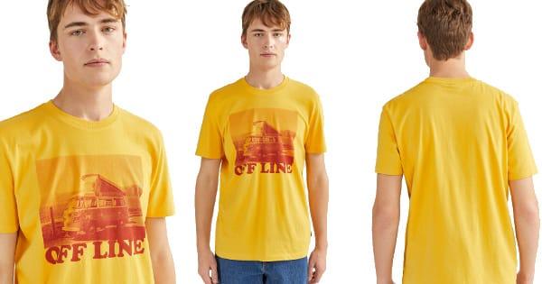 Camiseta Springfield con estampado de furgoneta barata, ropa de marca barata, ofertas en camisetas chollo
