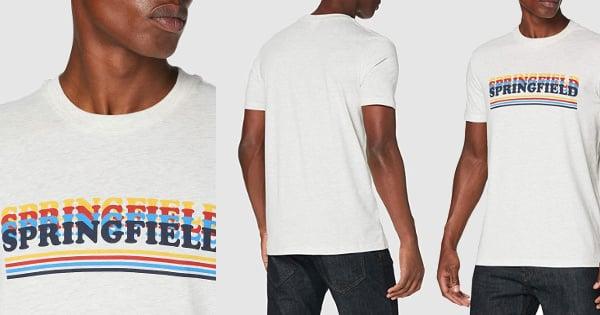 Camiseta Springfield con logo baratas, ropa de marca barata, ofertas en camisetas chollo