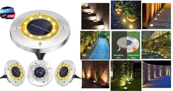 Pack de luces LED solares de exterior VIRIDI en acero inoxidable, luces jardín baratas, ofertas casa, chollo