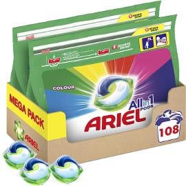 Pack de 108 cápsulas de detergente Ariel Pods 3 en 1 Color , detergente para ropa barato, ofertas supermercado