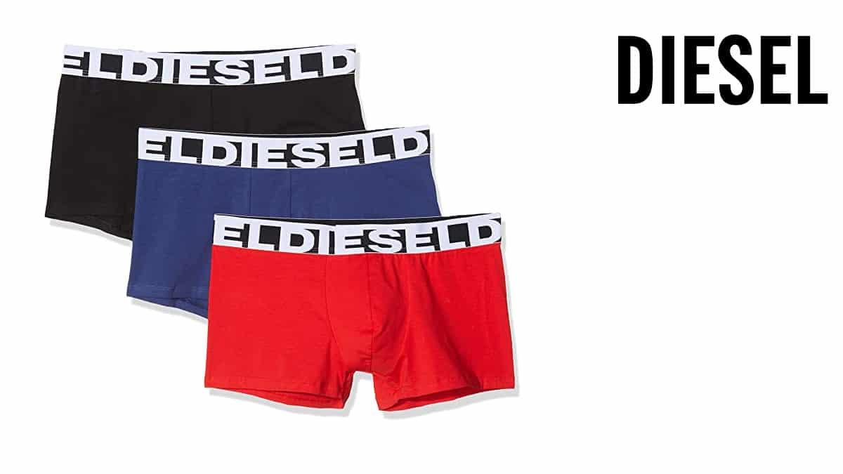 Pack de 3 calzoncillos bóxer Diesel UMBX baratos, calzoncillos baratos, ofertas en ropa de marc, chollo