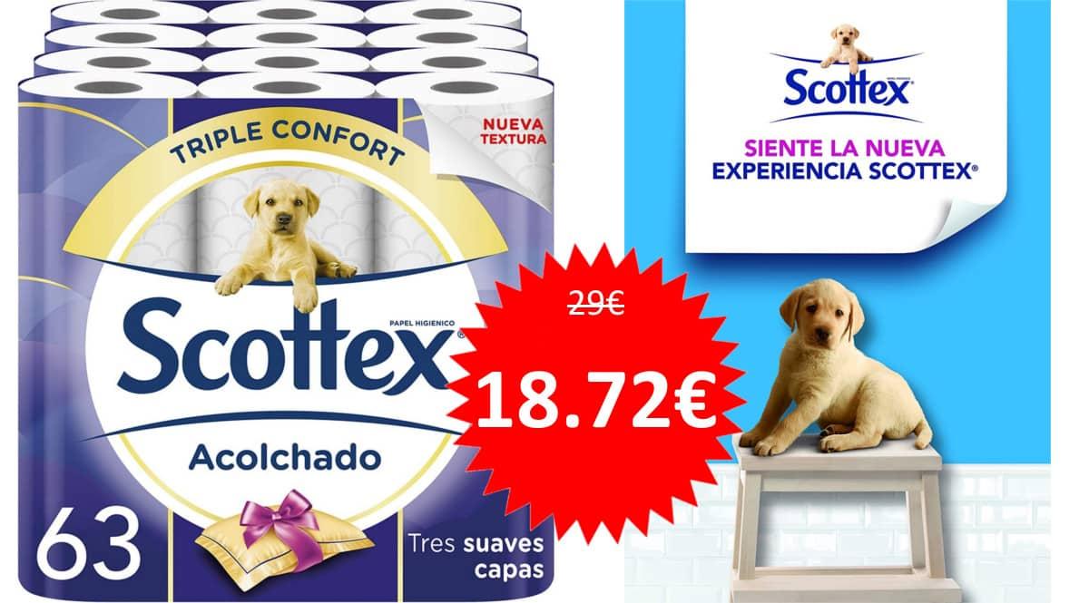63 rollos de papel higiénico acolchado Scottex barato. Ofertas en supermercado, chollo