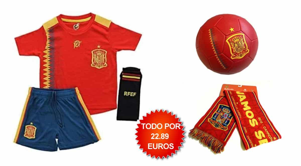 Equipación, balón y camiseta de la Selección Española de Fútbol