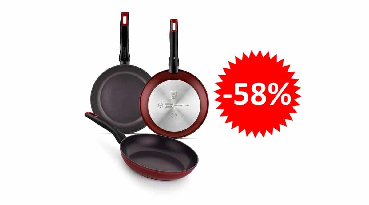 ¡Precio mínimo histórico! Pack de 3 sartenes aptas para todo tipo de cocinas BRA Red Diamond sólo 31.99 euros. 58% de descuento.