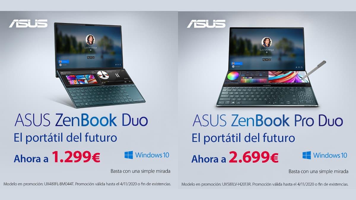 Portátiles Asus Zenbook DUO y Pro DUO baratos, portátiles baratos, chollo