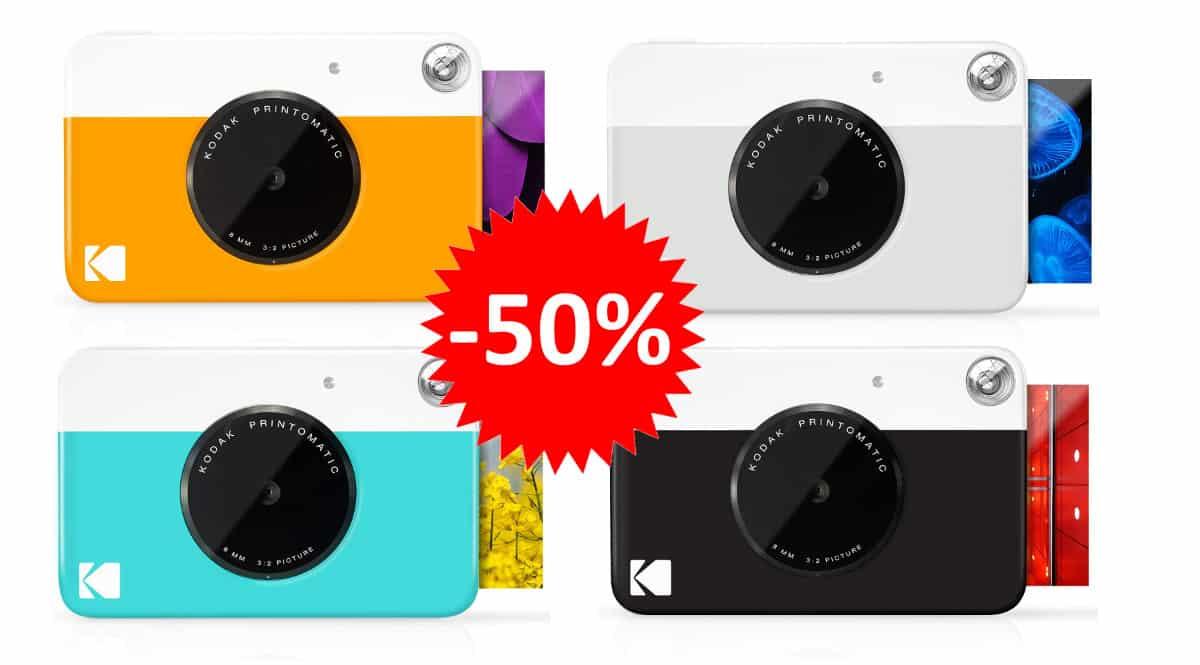 ¡Precio mínimo histórico! Cámara instantánea Kodak Printomatic sólo 49.99 euros. 50% de descuento. Varios colores.