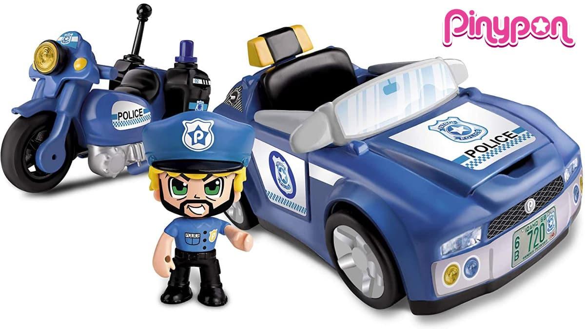 Coche de policía Pinypon Action vehículos de acción barato, juguetes baratos, ofertas para niños, chollo