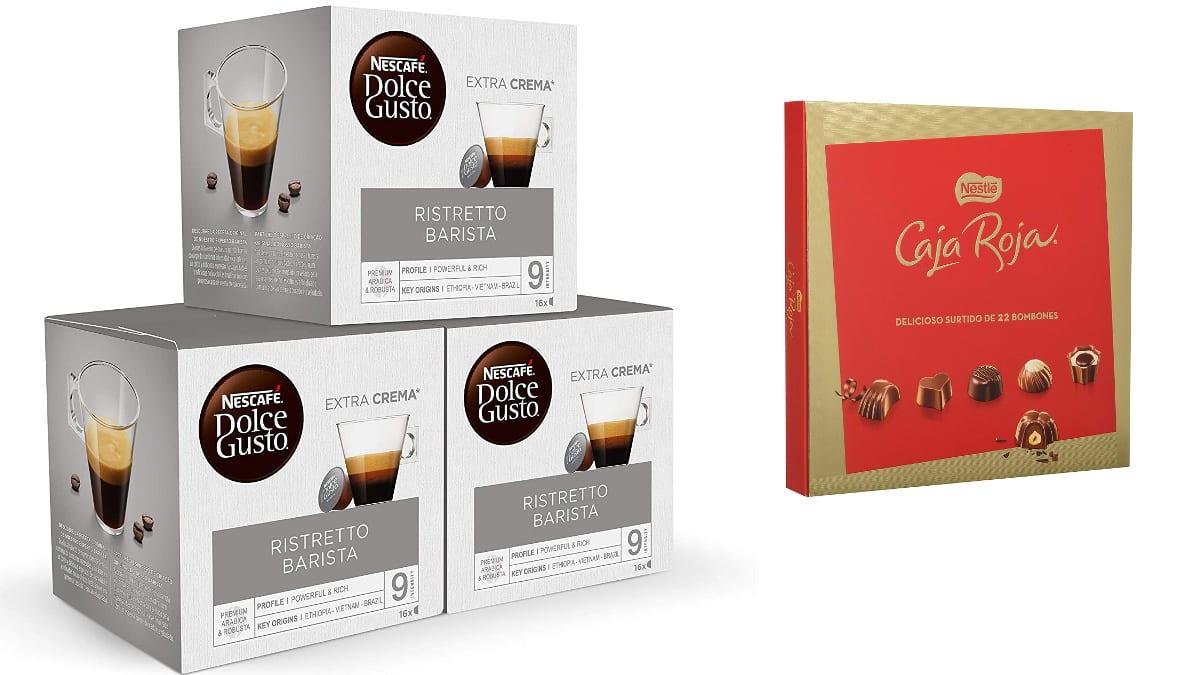 Cápsulas de Nescafé DOLCE GUSTO Ristretto BARISTA + Estuche de bombones caja roja de Nestlé baratos, café barato, ofertas supermercado, chollo