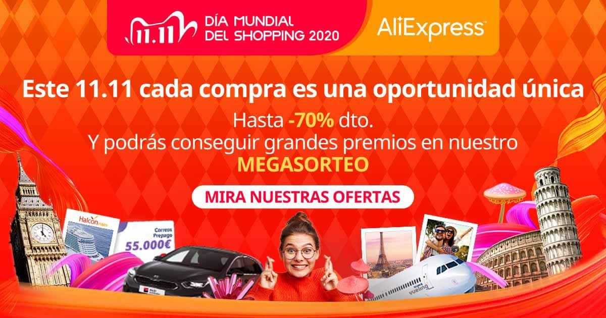 Día mundial del Shopping en AliExpress, Día del Soltero AliExpress, 11 del 11 AliExpress, chollo