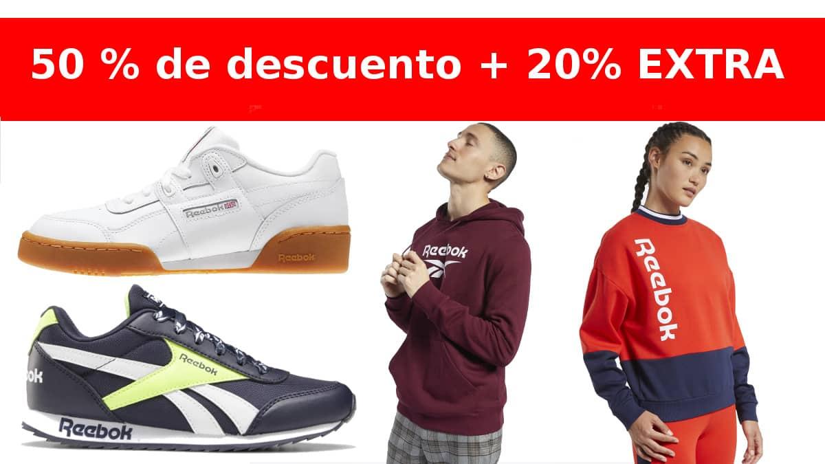 Descuento extra en el outlet de Reebok barato, ropa de marca barata, ofertas en calzado chollo