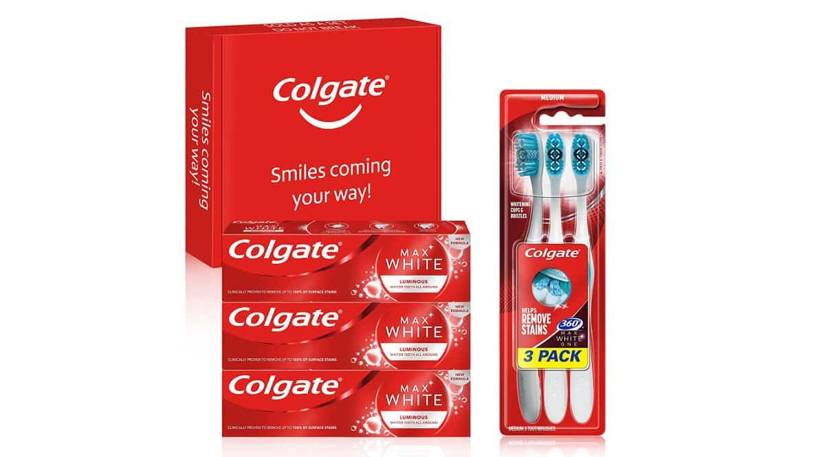 Kit Colgate blanqueador de dientes barato, pasta de dientes de marca barata, ofertas supermercado, chollo