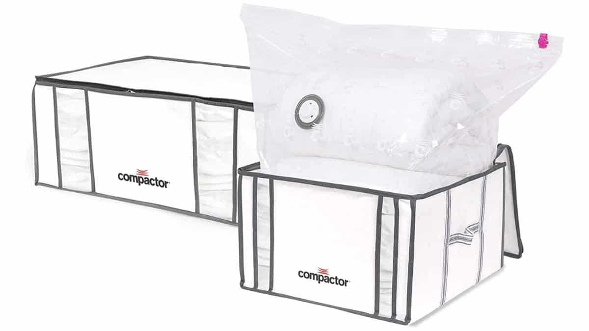 Lote de dos cajas de almacenaje al vacío Compactor talla M y XXL baratas, artículos de ordenación baratos, ofertas casa, chollo