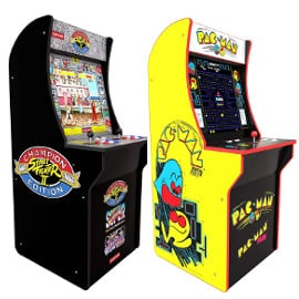 Máquinas recreativas retro Arcade 1UP Pac-Man y Street Fighter 2 baratas, consolas baratas