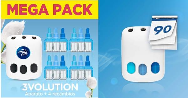 Pack con ambientador eléctrico Ambi Pur 3Volution + 4 Recambios con fragancia Nubes de algodón barato, ambientadores baratos, ofertas supermercado, chollo