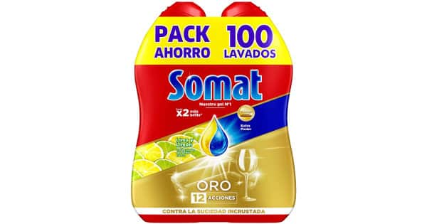 Pack de 100 lavados de detergente para lavavajillas en gel Somat Oro limón barato, detergente barato, ofertas supermercado