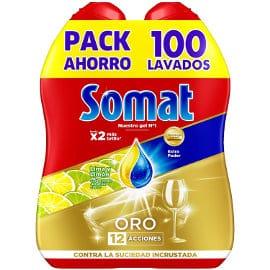 Pack de 100 lavados de detergente para lavavajillas en gel Somat Oro limón barato, detergente barato, ofertas supermercado,