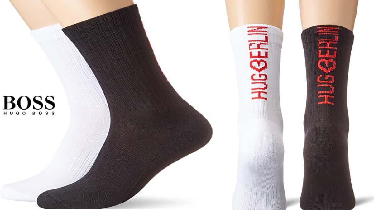 Pack de 2 pares de calcetines Hugo Boss baratos, calcetines hombre baratos, ofertas en ropa interior, chollo