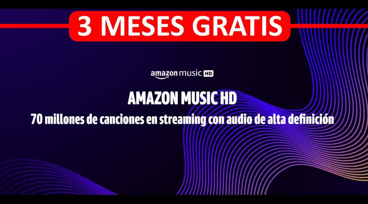 Promoción Amazon Music HD - 3 meses gratis.