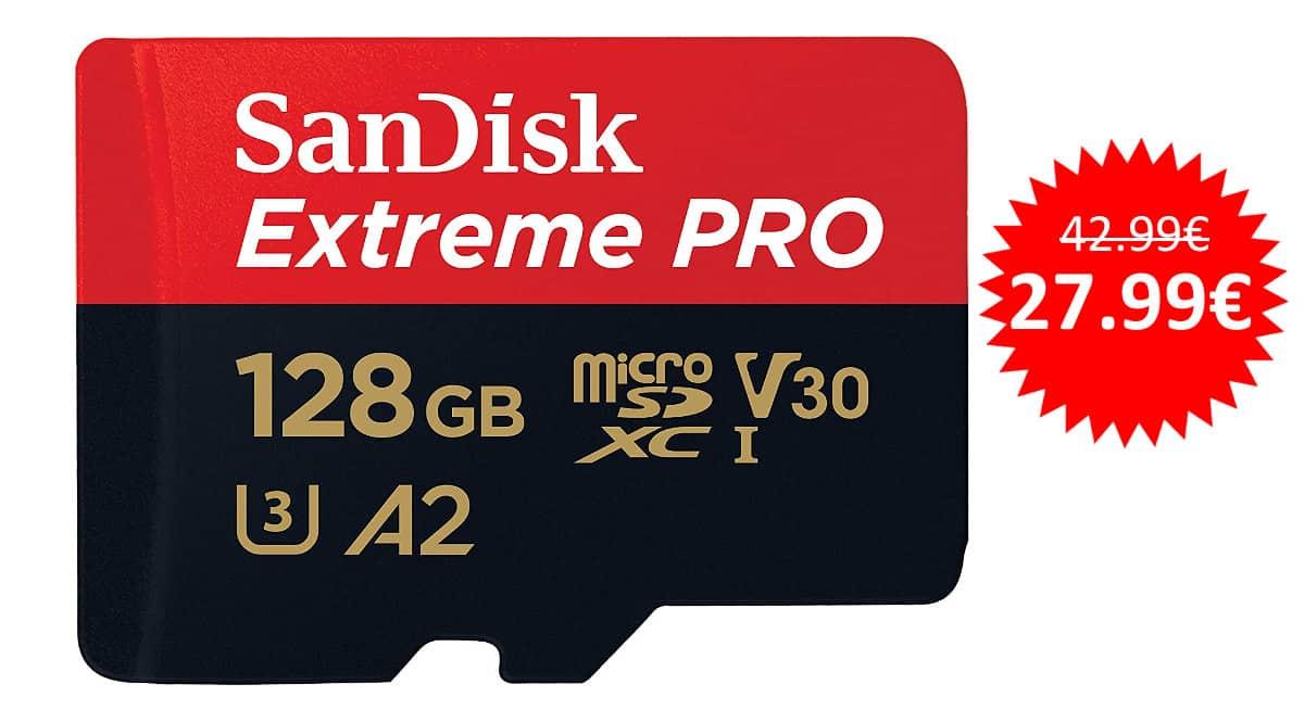 ¡¡Chollo!! Tarjeta microSD SanDisk Extreme Pro de 128GB sólo 27.99 euros.