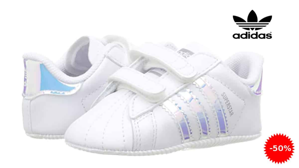 Zapatillas para bebé Adidas Superstar Crib baratas, calzado para bebés barato, ofertas en zapatillas para niños, chollo