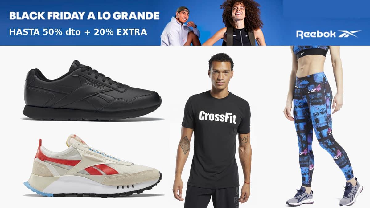 Black Friday Reebok barato, ropa de marca barata, ofertas en calzado deportivo chollo