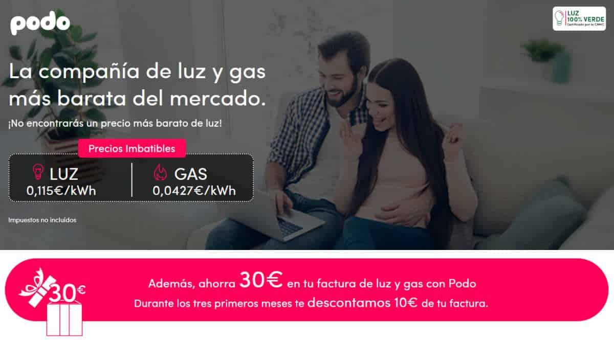 Energía verde y barata con Podo, ahorra 30 euros en tu factura de luz y gas con Podo