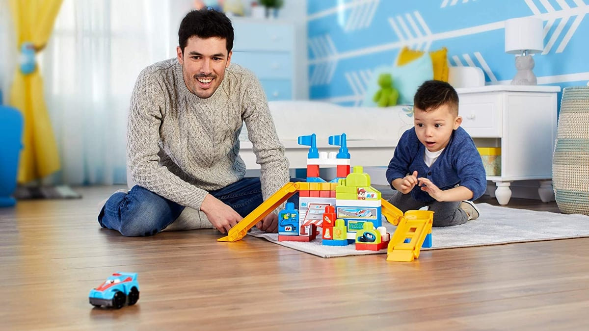 Juguete de construcción garaje de coches de carreras Mega Bloks barato, juguetes baratos, ofertas para niños, chollo