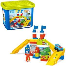 Juguete de construcción garaje de coches de carreras Mega Bloks barato, juguetes baratos, ofertas para niños