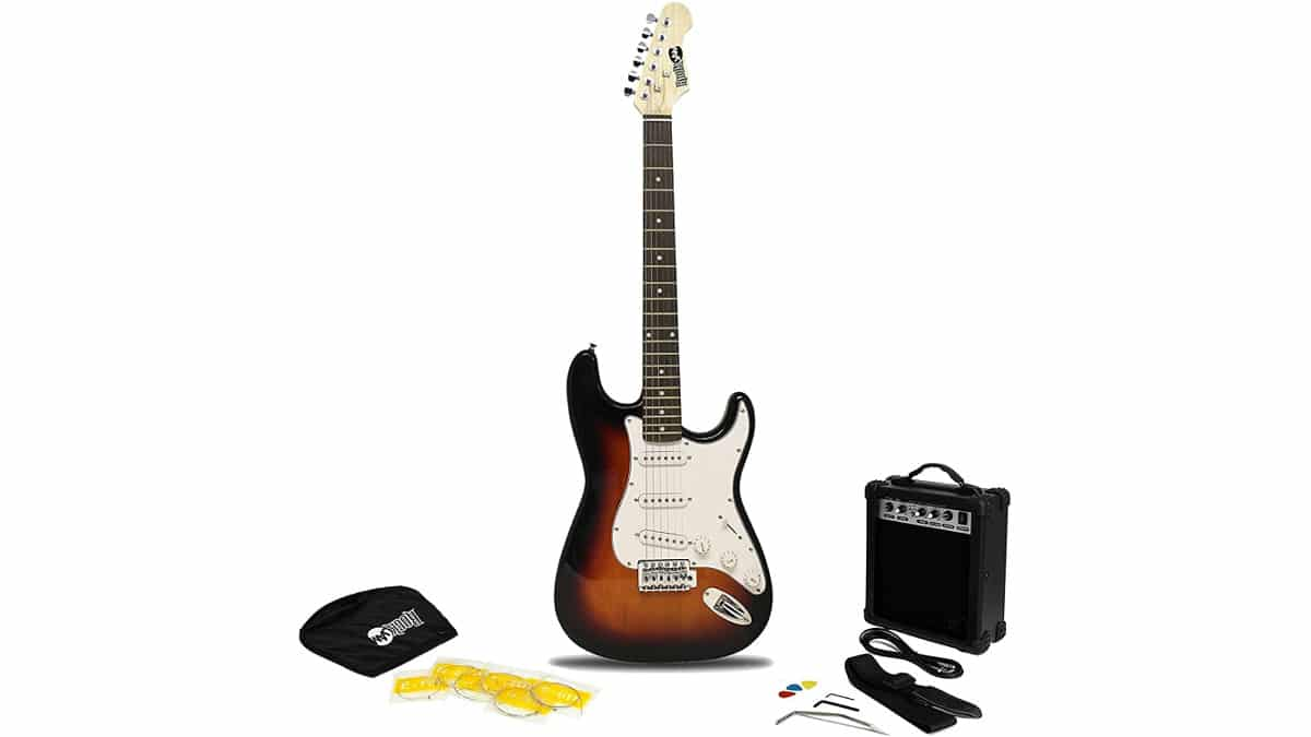 Kit guitarra eléctrica RockJam barato, guitarras eléctricas baratas, chollo