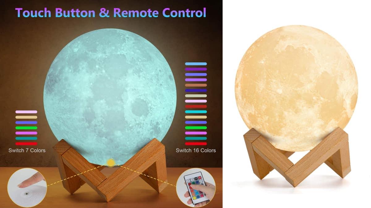 Lámpara de luna con 16 colores y control remoto barata, lámparas baratas, ofertas para la casa chollo