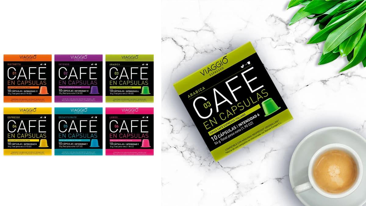 Pack Viaggio selección clásica con 60 cápsulas de café compatibles con Nespresso baratas, café barato, ofertas supermercado, chollo