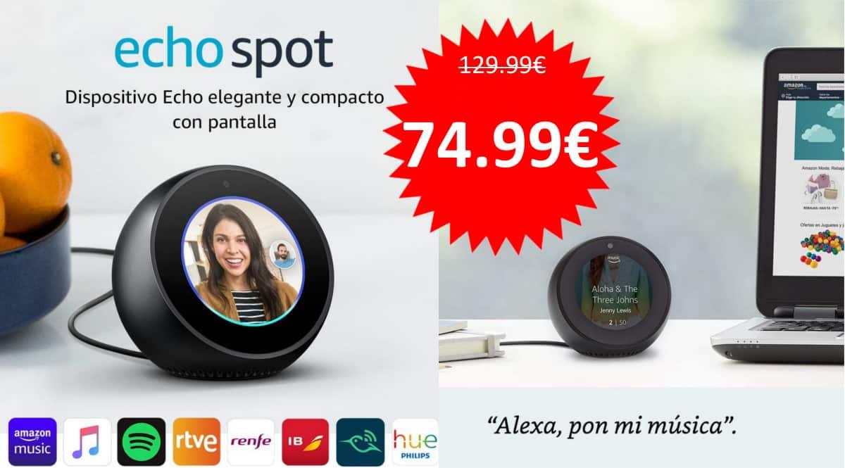 Pantalla inteligente Amazon Echo Spot barato. Ofertas en pantallas inteligentes, pantallas inteligentes baratas, chollo