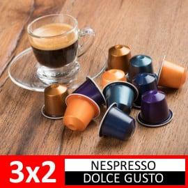 Promoción 3x2 en cápsulas de café Nespresso y Dolce Gusto. Ofertas en supermercado