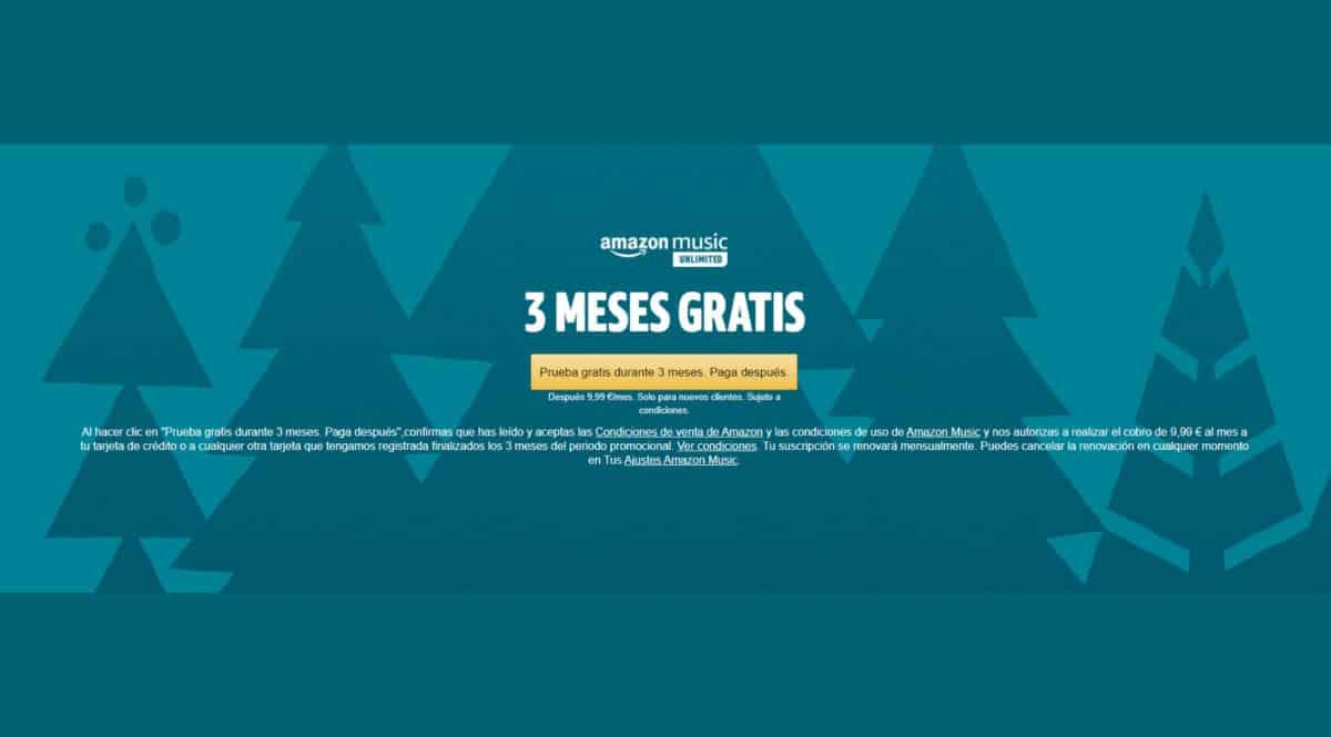 Promoción Amazon Music Unlimited - 3 meses gratis, chollo