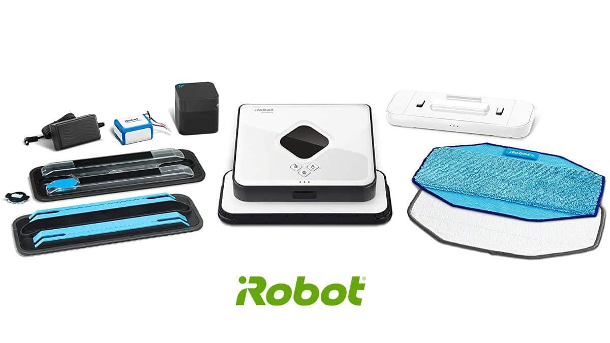 Robot friegasuelos con mopa en seco y húmedo iRobot Braava 390T barato, robots de limpieza baratos, chollo