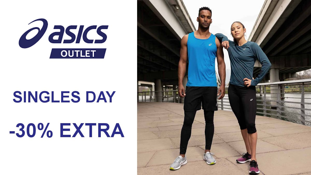 Singles Day en el Outlet de Asics, ropa y zapatillas de marca baratas, ofertas en ropa y calzado deportivo de marca, chollo