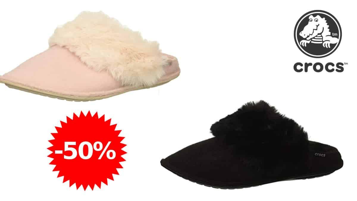 Zapatillas de casa para mujer Crocs Classic Luxe Slipper baratas, zapatillas casa baratas, ofertas calzado, chollo