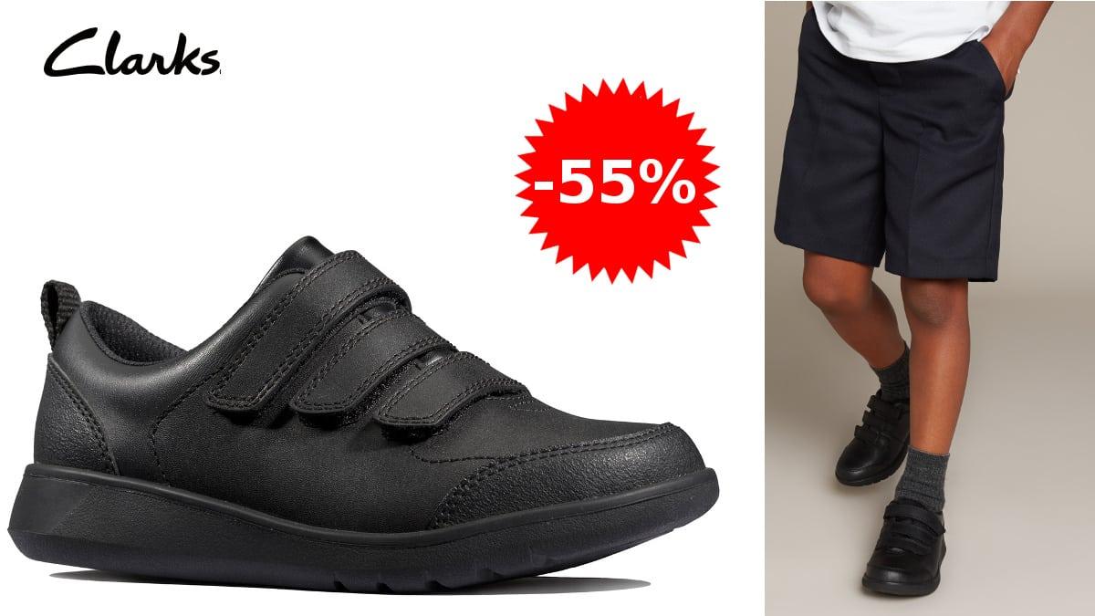 Zapatillas de cuero para niños Clarks Scape Sky K baratas, calzado barato, ofertas para niños, chollo