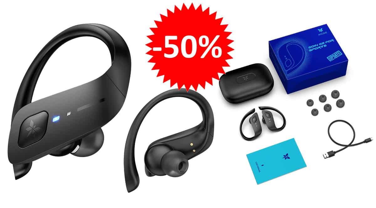 ¡Código descuento! Auriculares inalámbricos deportivos Axloie sólo 14.99 euros. 50% de descuento.