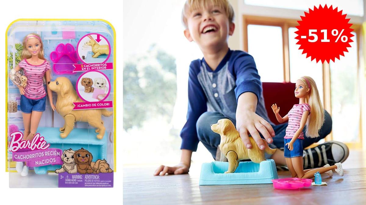 Barbie y sus perritos sorpresa barata, muñecas baratas, ofertas en juguetes, chollo