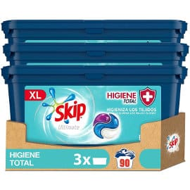 Detergente en cápsulas Skip Ultimate 3en1 Higiene Total barato, detergente para la ropa barato, ofertas supermercado