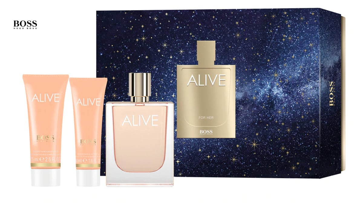 Estuche regalo de perfume para mujer Alive Hugo Boss barato, perfumes de marca baratos, ofertas para regalar, chollo