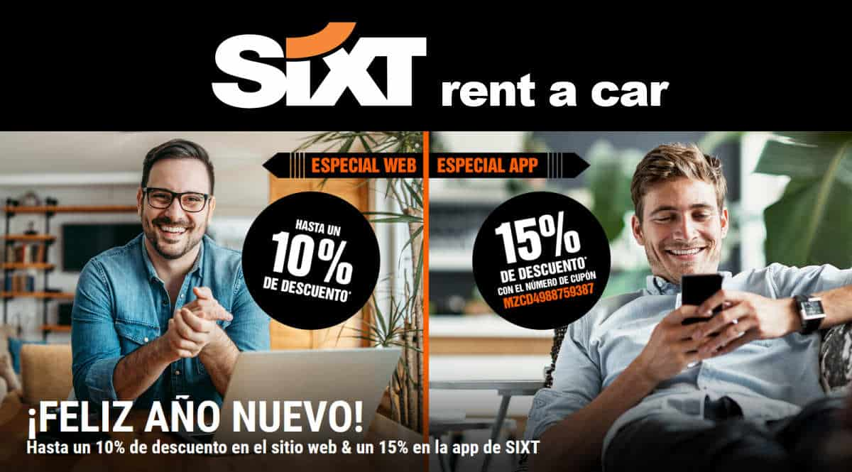 Hasta 15% de descuento con SIXT, alquiler de coche barato, ofertas en alquiler de coche, chollo