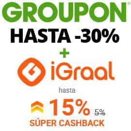 Hasta 30% de descuento y 15% de cashback en Groupon con iGraal, ofertas en Groupon, cashback iGraal