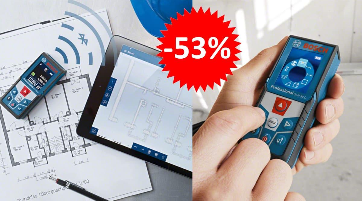 ¡¡Chollo!! Medidor láser Bluetooth Bosch Professional GLM 50 C sólo 92.99 euros. 53% de descuento.