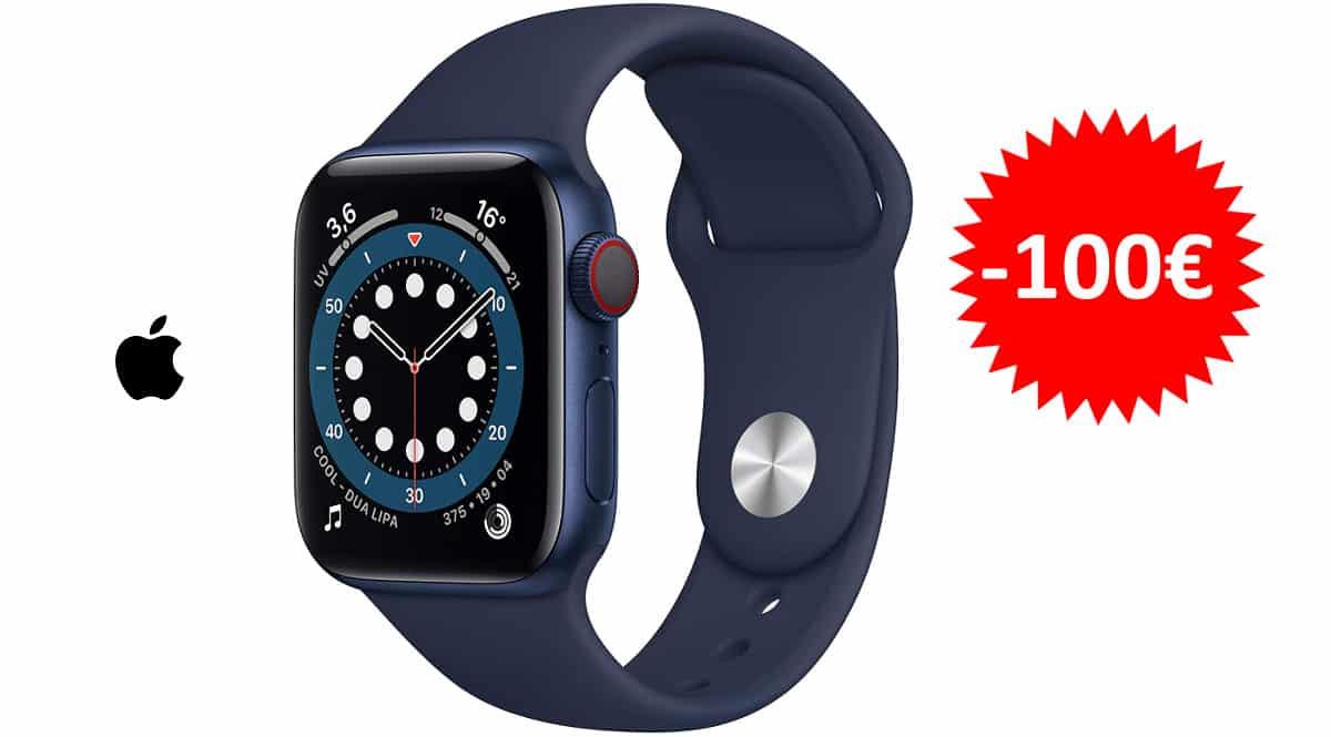 ¡¡Chollo!! Smartwatch Apple Watch Series 6 de 40mm (GPS + Cellular) sólo 428 euros. Te ahorras 100 euros.