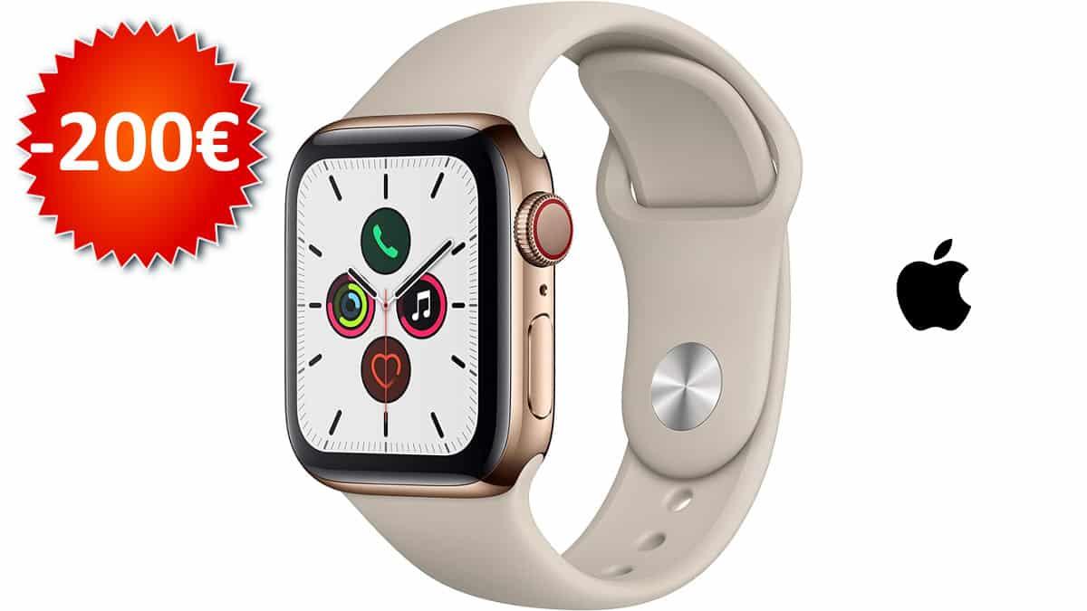 Apple Watch Series 5 de 40mm y caja de acero inoxidable en oro barato, smartwatches baratos, chollo